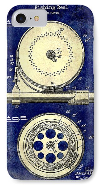 1942 Fishing Reel Patent Drawing 2 Tone Blue IPhone Case by Jon Neidert