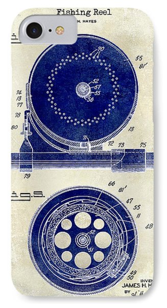 1942 Fishing Reel Patent Drawing 2 Tone IPhone Case by Jon Neidert