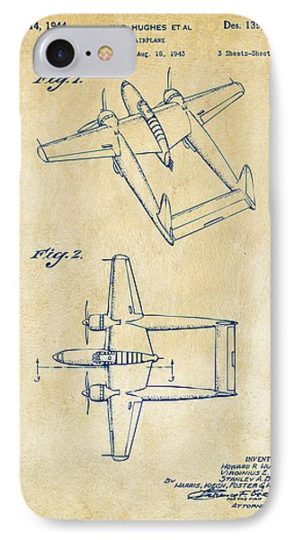 1944 Howard Hughes Airplane Patent Artwork Vintage IPhone Case by Nikki Marie Smith