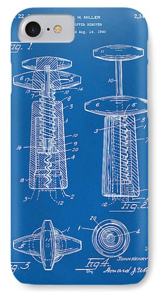 1944 Wine Corkscrew Patent Artwork - Blueprint Phone Case by Nikki Marie Smith