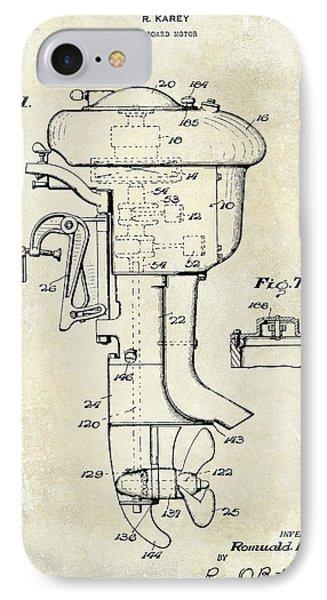 1947 Outboard Motor Patent Drawing IPhone Case by Jon Neidert