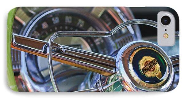 1950 Chrysler New Yorker Coupe Steering Wheel Emblem Phone Case by Jill Reger