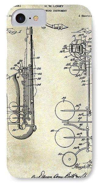 1951 Saxophone Patent Drawing IPhone Case by Jon Neidert