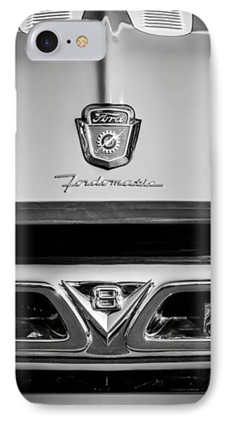 1953 Ford F-100 Fordomatic Pickup Truck Grille Emblems -0108bw IPhone Case by Jill Reger