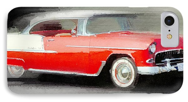 1955 Chevrolet Bel Air Coupe Watercolor IPhone Case by Naxart Studio