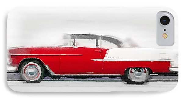 1955 Chevy Bel Air Watercolor IPhone Case by Naxart Studio