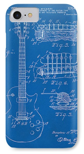 1955 Mccarty Gibson Les Paul Guitar Patent Artwork Blueprint IPhone Case by Nikki Marie Smith