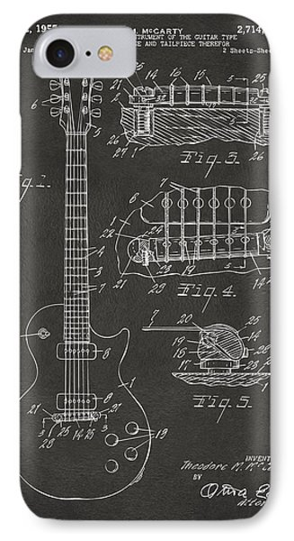 1955 Mccarty Gibson Les Paul Guitar Patent Artwork - Gray IPhone 7 Case by Nikki Marie Smith