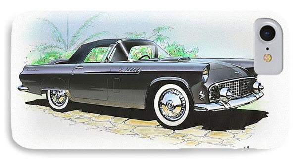 1956 Ford Thunderbird  Black  Classic Vintage Sports Car Art Sketch Rendering         IPhone Case by John Samsen