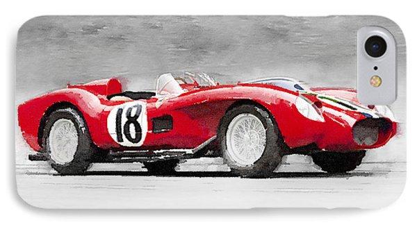 1957 Ferrari Testarossa Watercolor IPhone Case by Naxart Studio