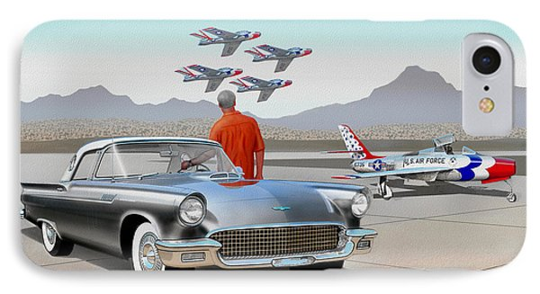1957 Thunderbird  With F-84 Gunmetal Vintage Ford Classic Art Sketch Rendering           IPhone Case by John Samsen