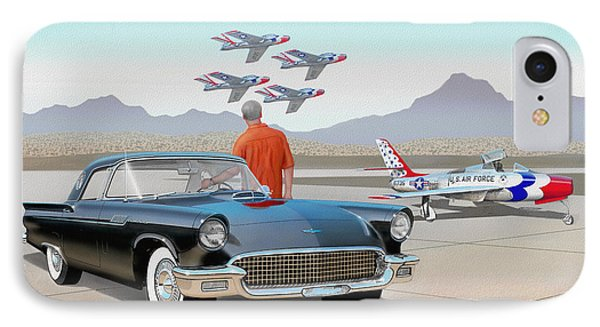 1957 Thunderbird  With F-84 Thunderbirds Vintage Ford Classic Car Art Sketch Rendering          IPhone Case by John Samsen