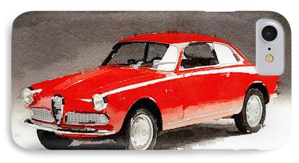 1958 Alfa Romeo Giulietta Sprint Watercolor IPhone Case by Naxart Studio