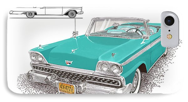 1959 Ford 500 Fairlane Retractable Hard Top Phone Case by Jack Pumphrey