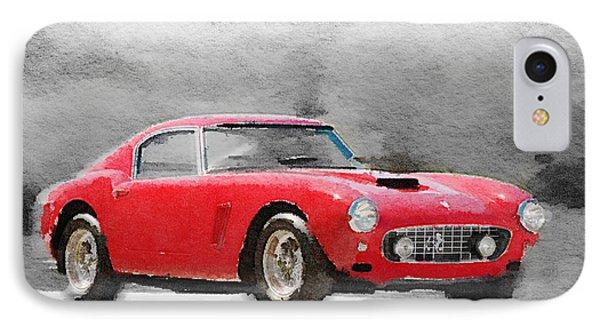 1960 Ferrari 250 Gt Swb Watercolor IPhone Case by Naxart Studio