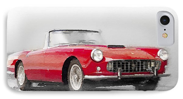 1960 Ferrari 250gt Pinifarina Watercolor IPhone Case by Naxart Studio