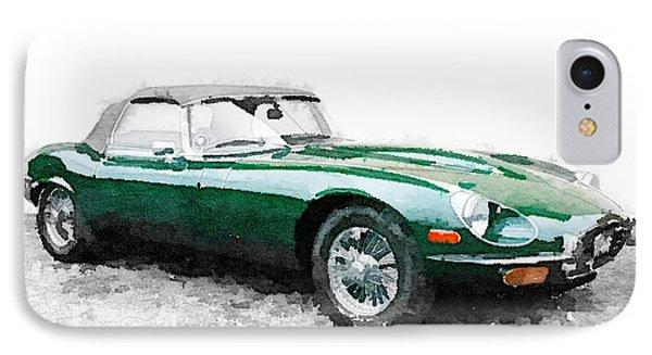 1961 Jaguar E-type Watercolor IPhone Case by Naxart Studio