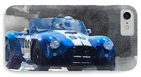 1964 Ac Cobra Shelby Racing Watercolor IPhone Case by Naxart Studio