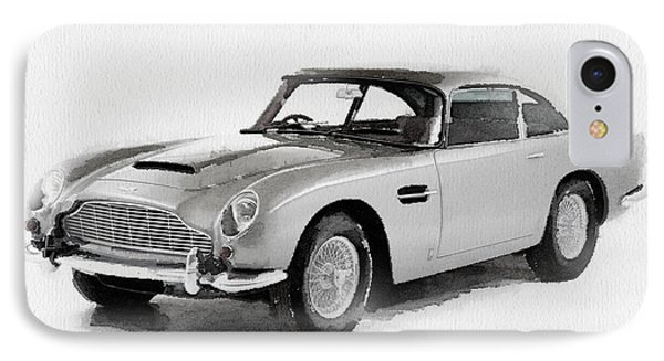 1964 Aston Martin Db5 Watercolor IPhone Case by Naxart Studio
