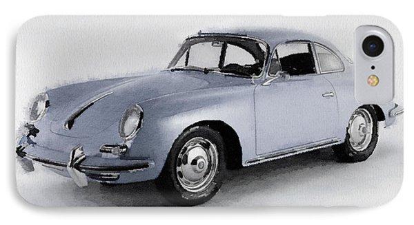 1964 Porsche 356b Watercolor IPhone Case by Naxart Studio