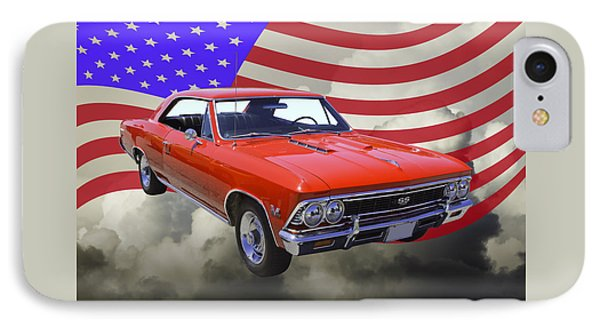 1966 Chevy Chevelle Ss 396 And United States Flag IPhone Case by Keith Webber Jr