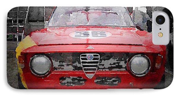 1967 Alfa Romeo Gtv Watercolor IPhone Case by Naxart Studio