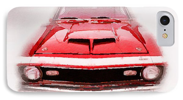 1968 Chevy Camaro Front End Watercolor IPhone Case by Naxart Studio