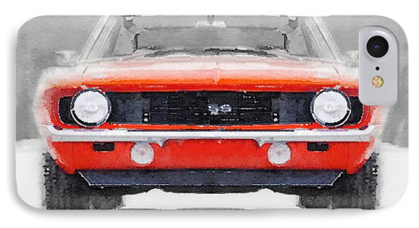 1968 Chevy Camaro Ss Watercolor IPhone Case by Naxart Studio