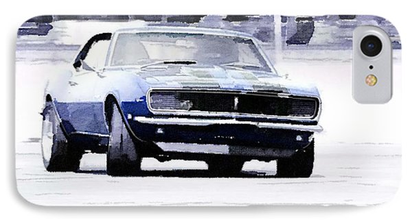 1968 Chevy Camaro Watercolor IPhone Case by Naxart Studio
