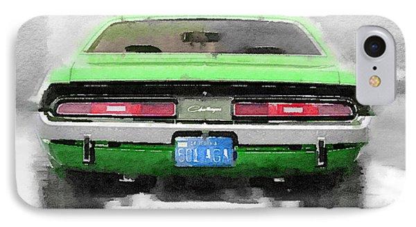 1968 Dodge Challenger Rear Watercolor IPhone Case by Naxart Studio