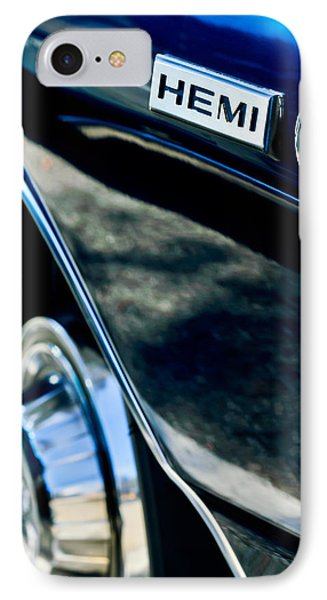 1968 Dodge Charger Rt Coupe 426 Hemi Upgrade Emblem IPhone Case by Jill Reger