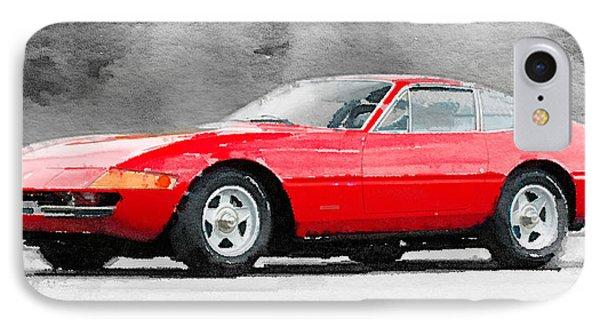 1968 Ferrari 365 Gtb4 Daytona Watercolor IPhone Case by Naxart Studio