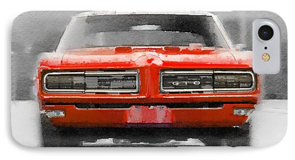 1968 Pontiac Gto Front Watercolor IPhone Case by Naxart Studio