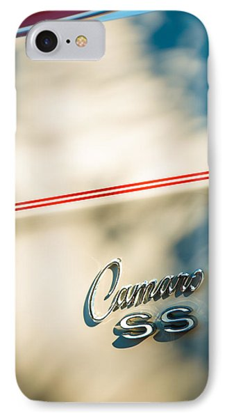 1969 Chevrolet Camaro Rs-ss Indy Pace Car Replica Side Emblem IPhone Case by Jill Reger
