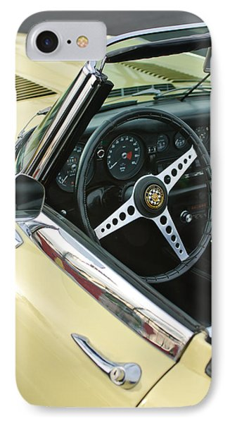 1970 Jaguar Xk Type-e Steering Wheel IPhone Case by Jill Reger