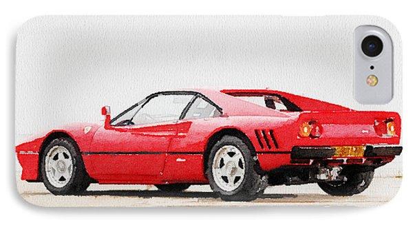 1980 Ferrari 288 Gto Watercolor IPhone Case by Naxart Studio