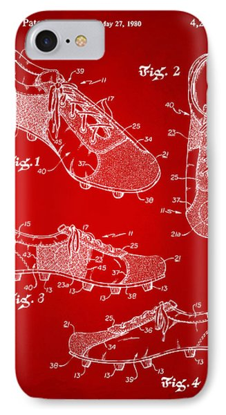 1980 Soccer Shoes Patent Artwork - Red IPhone Case by Nikki Marie Smith