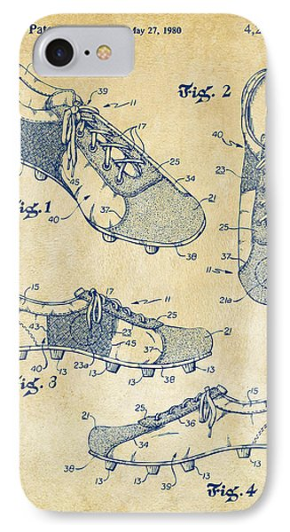 1980 Soccer Shoes Patent Artwork - Vintage IPhone Case by Nikki Marie Smith