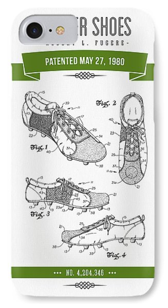 1980 Soccer Shoes Patent Drawing - Retro Green IPhone Case by Aged Pixel