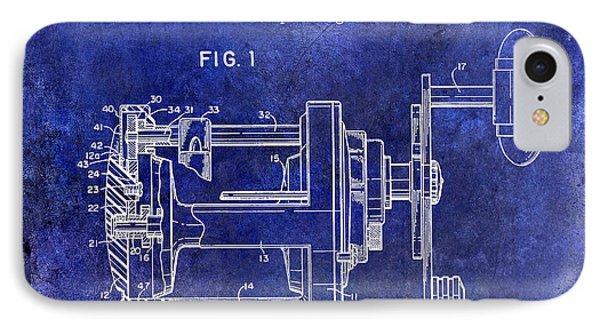1988 Penn Fishing Reel Patent Drawing Blue IPhone Case by Jon Neidert
