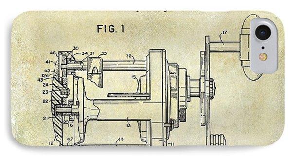 1988 Penn Fishing Reel Patent Drawing IPhone Case by Jon Neidert