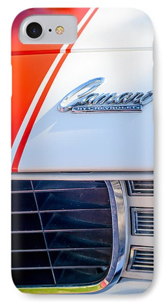 1969 Chevrolet Camaro Rs-ss Indy Pace Car Replica Hood Emblem IPhone Case by Jill Reger