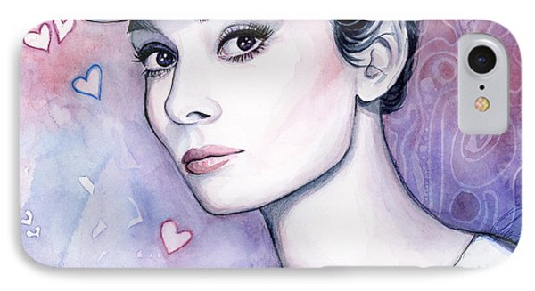Audrey Hepburn Fashion Watercolor IPhone 7 Case by Olga Shvartsur