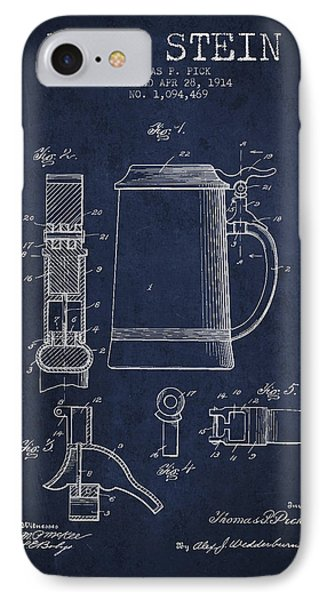 Beer Stein Patent From 1914 - Navy Blue IPhone Case by Aged Pixel