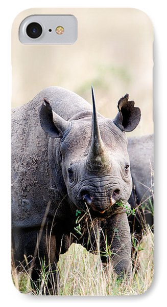 Black Rhinoceros Diceros Bicornis IPhone Case by Panoramic Images