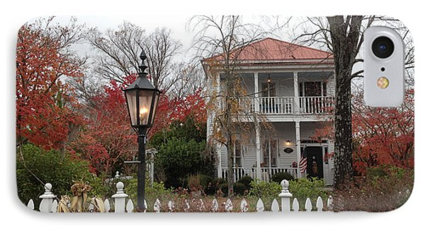 Charleston Historical Victorian Mansion - Charleston Autumn Fall Trees And White Picket Fence IPhone Case by Kathy Fornal
