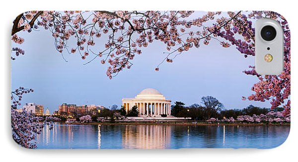 Cherry Blossom Tree With A Memorial IPhone Case by Panoramic Images