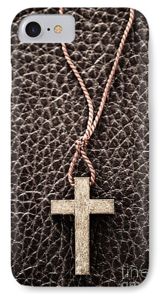 Christian Cross On Bible IPhone Case by Elena Elisseeva