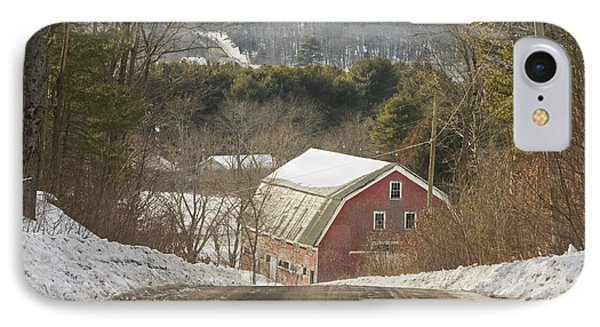 Country Road And Barn In Winter Maine IPhone Case by Keith Webber Jr
