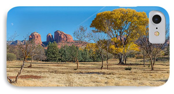 Fall Field On Cathedral Rock IPhone Case by Scott Campbell